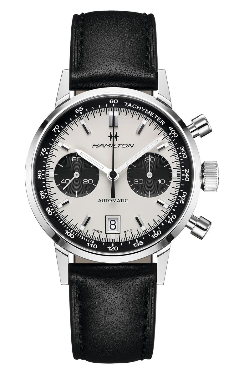 HAMILTON Intra-Matic Automatic Chronograph Leather Strap Watch, 40mm, Main, color, BLACK/ WHITE/ SILVER