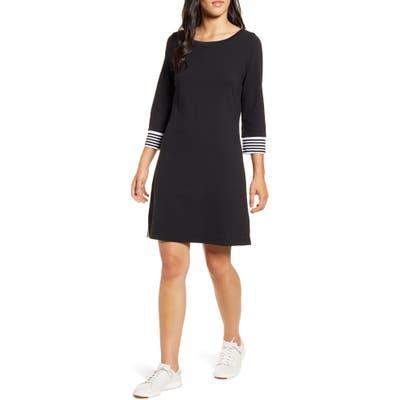 Tommy Bahama Ottoman Stripe Cuff Cotton Shift Dress, Black