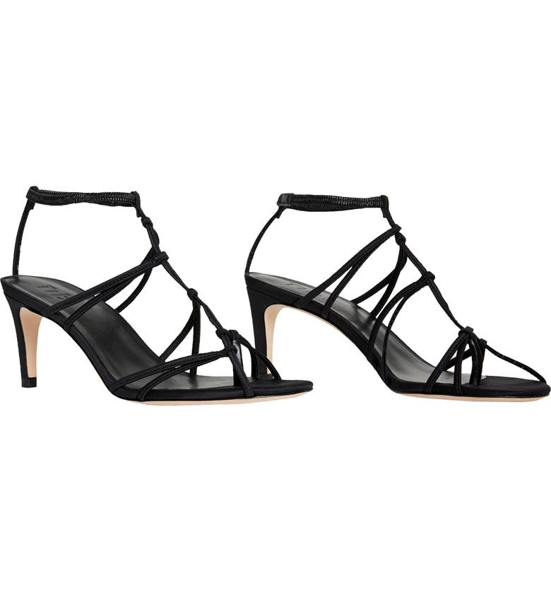 TIBI Gavin Strappy Satin Sandal, Main, color, BLACK