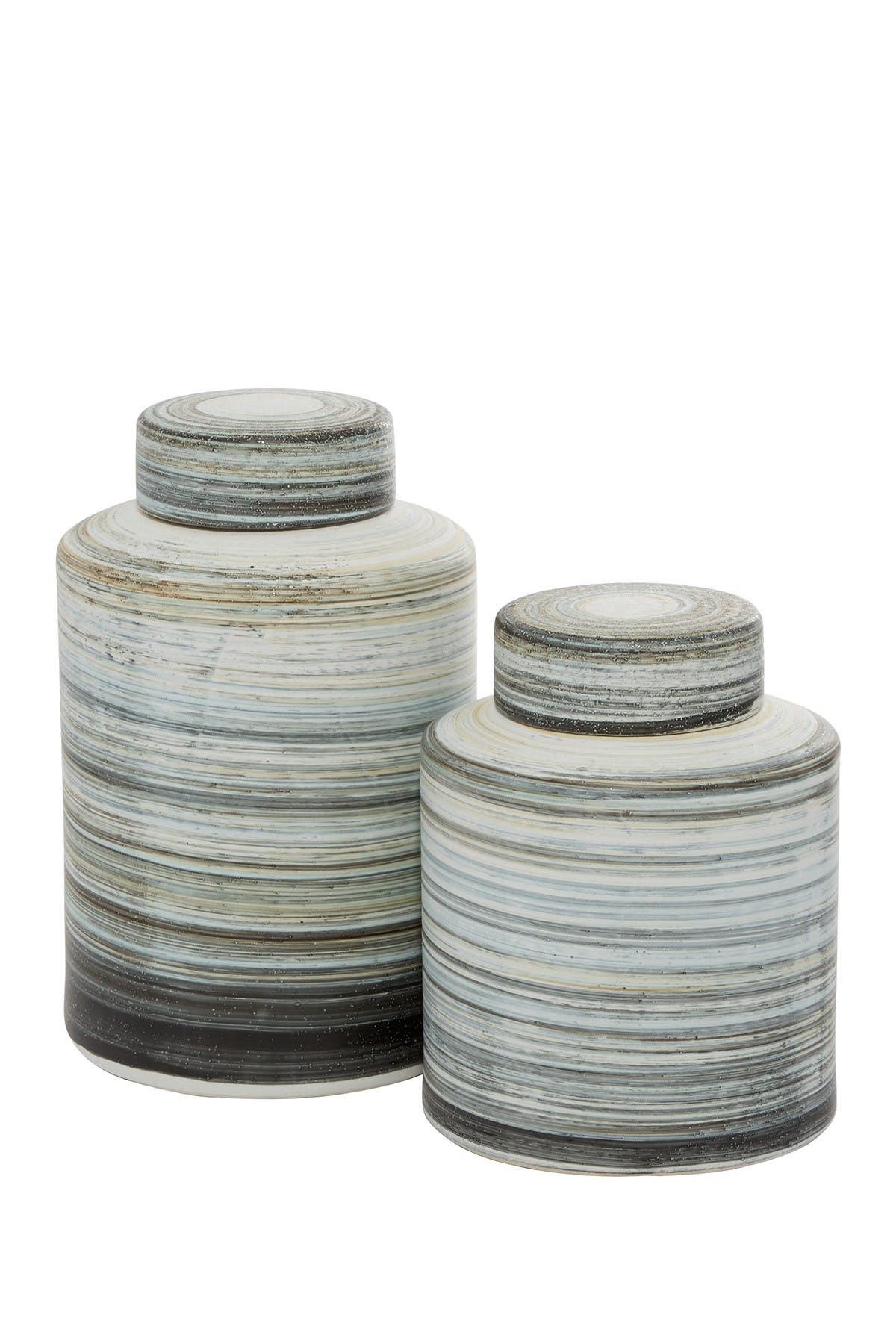 Image of Willow Row Grey Ceramic Farmhouse Decorative Jars - Set of 2