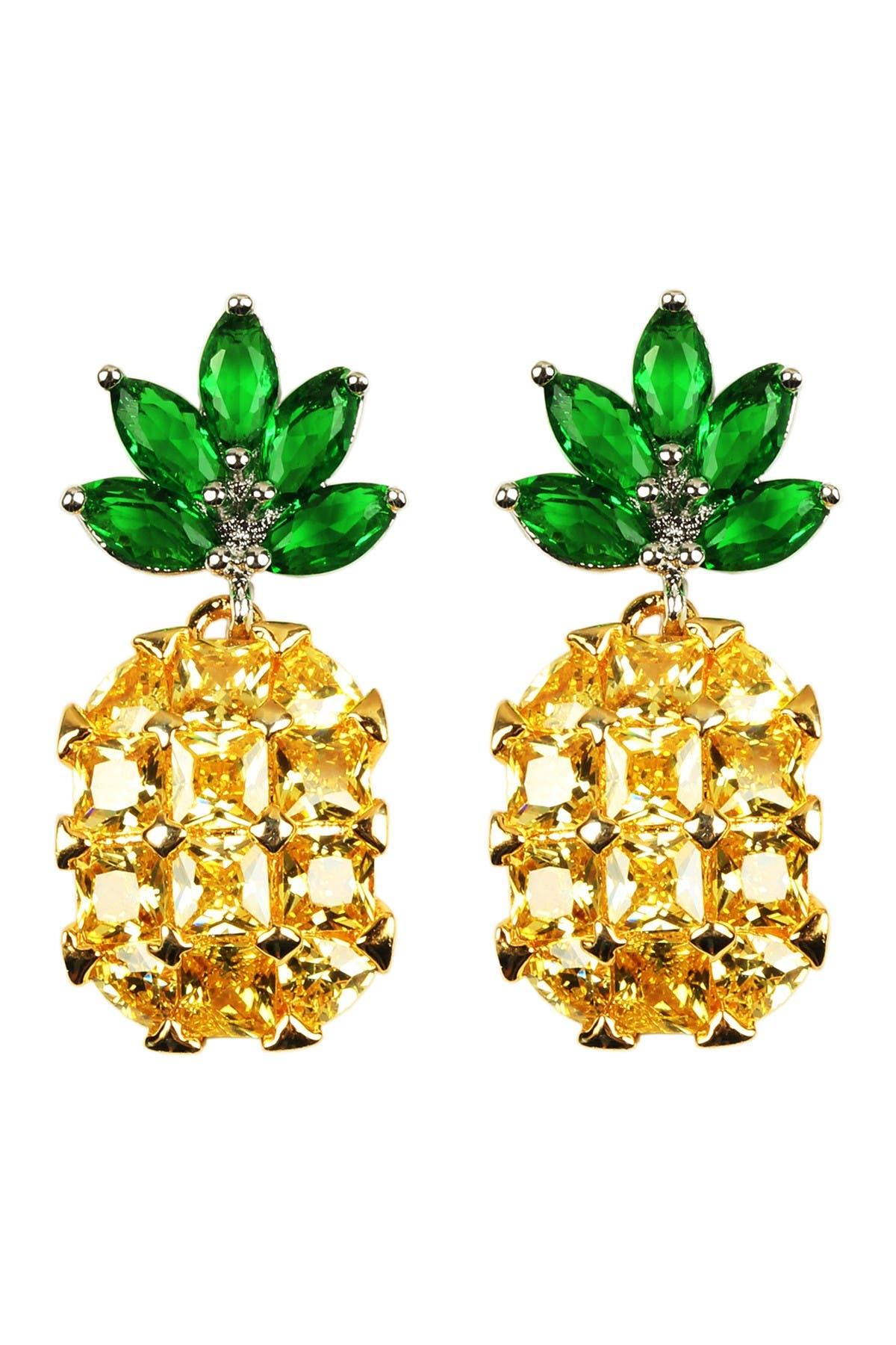 Image of Eye Candy Los Angeles Crystal Pineapple Drop Earrings