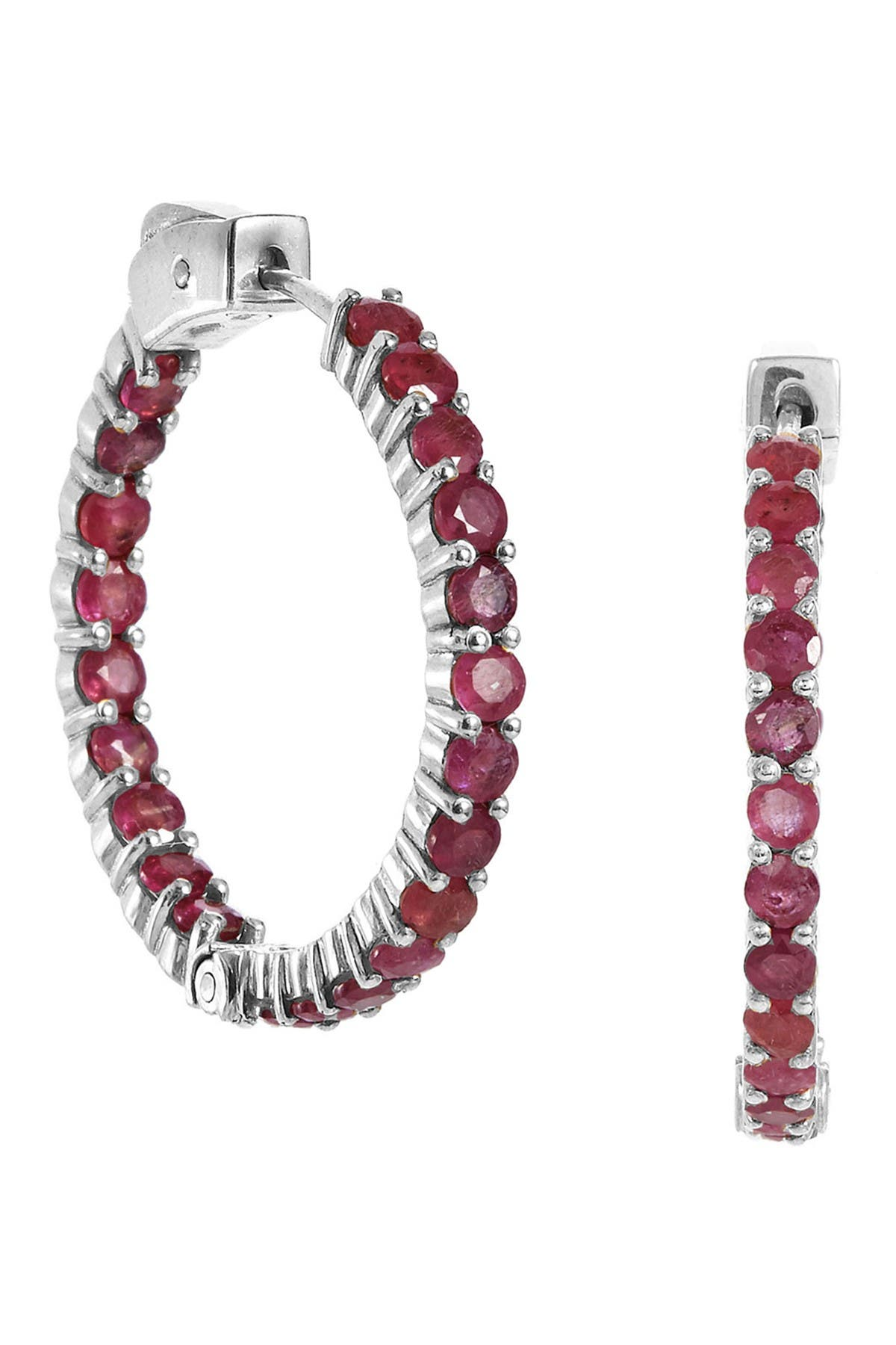 Savvy Cie Sterling Silver Ruby Inside Out Hoop Earrings at Nordstrom Rack