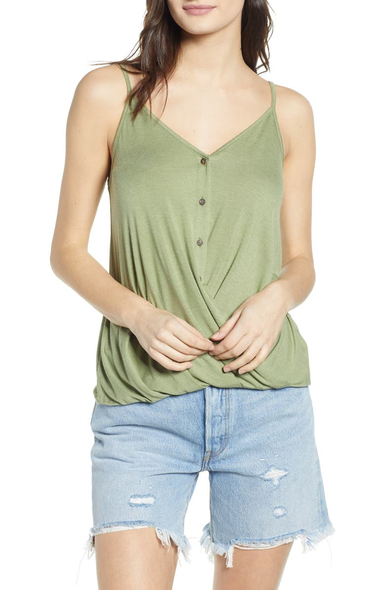 ALL IN FAVOR Twist Button Front Tank, Main, color, OLIVE