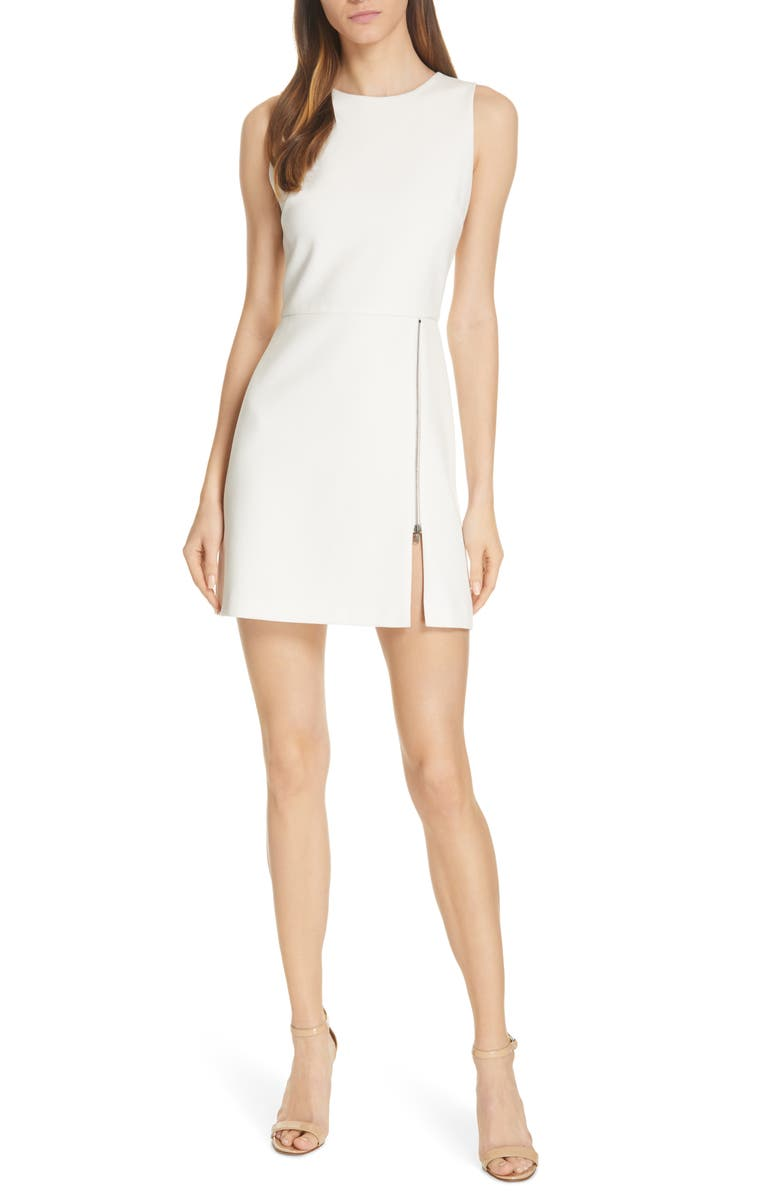 ALICE + OLIVIA Julie Zip Detail A-Line Minidress, Main, color, OFF WHITE