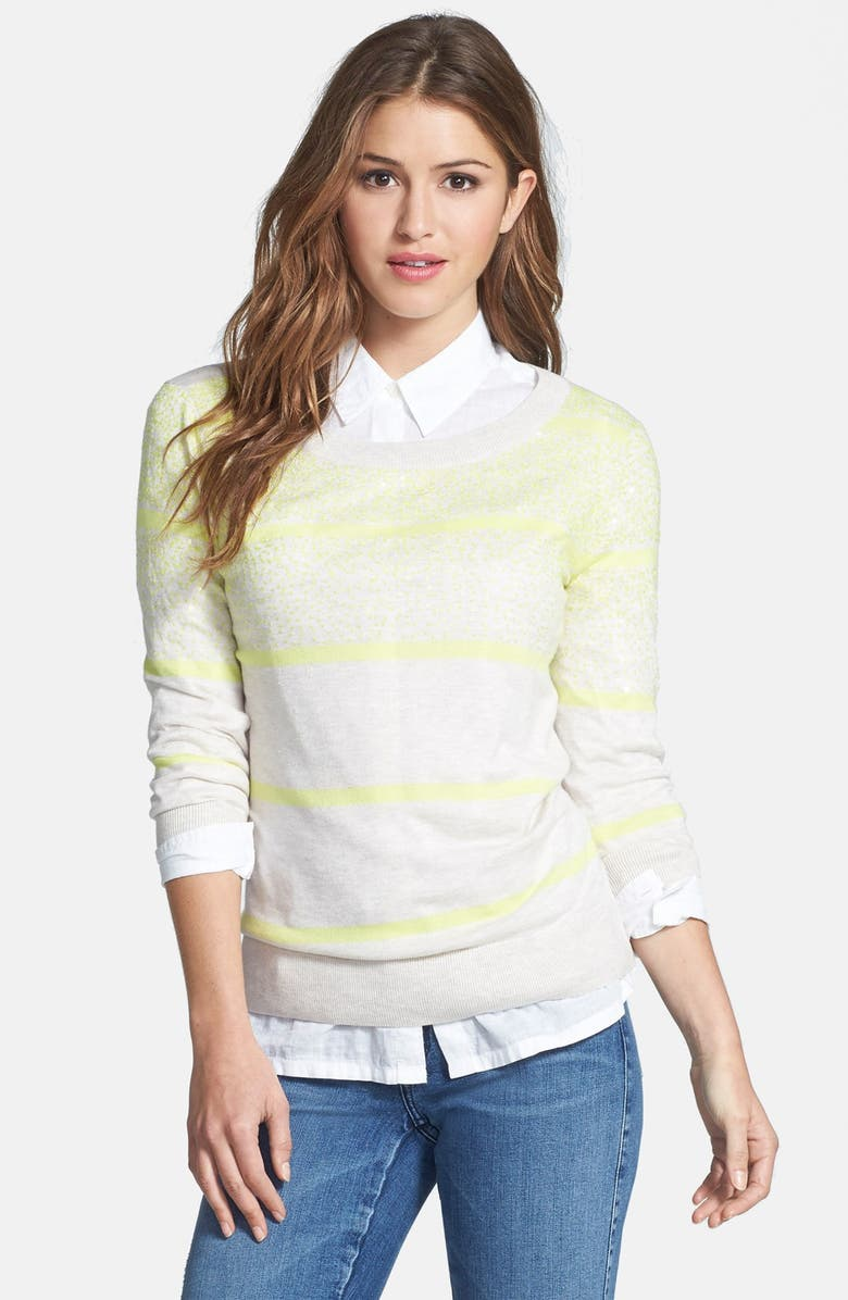 HALOGEN<SUP>®</SUP> Sequin Stripe Sweater, Main, color, 260