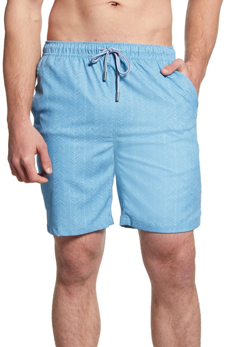 PETER MILLAR Summer Winds Chevron Swim Trunks, Main, color, LAKE BLUE