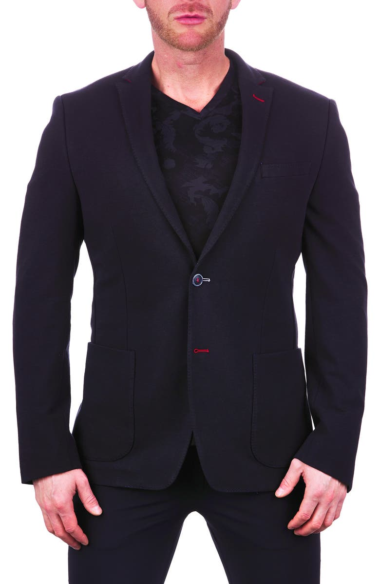 MACEOO Unconstructed Black Stretch Scuba Blazer, Main, color, 007