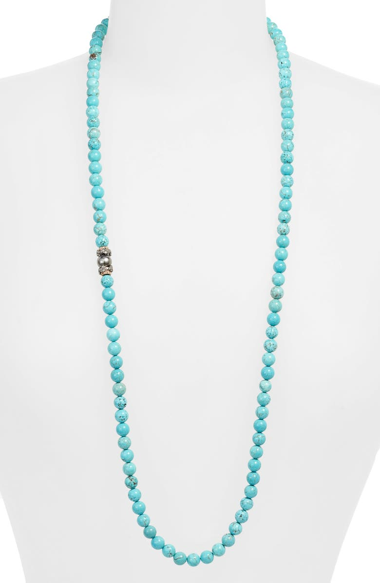 ARMENTA Armena New World Magnesite & Pearl Beaded Long Necklace, Main, color, GOLD/ SILVER/ PEARL/ DIAMOND