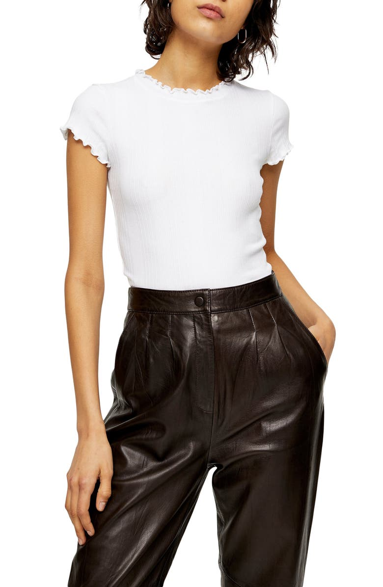 TOPSHOP Ribbed Lettuce Trim Tee, Main, color, WHITE