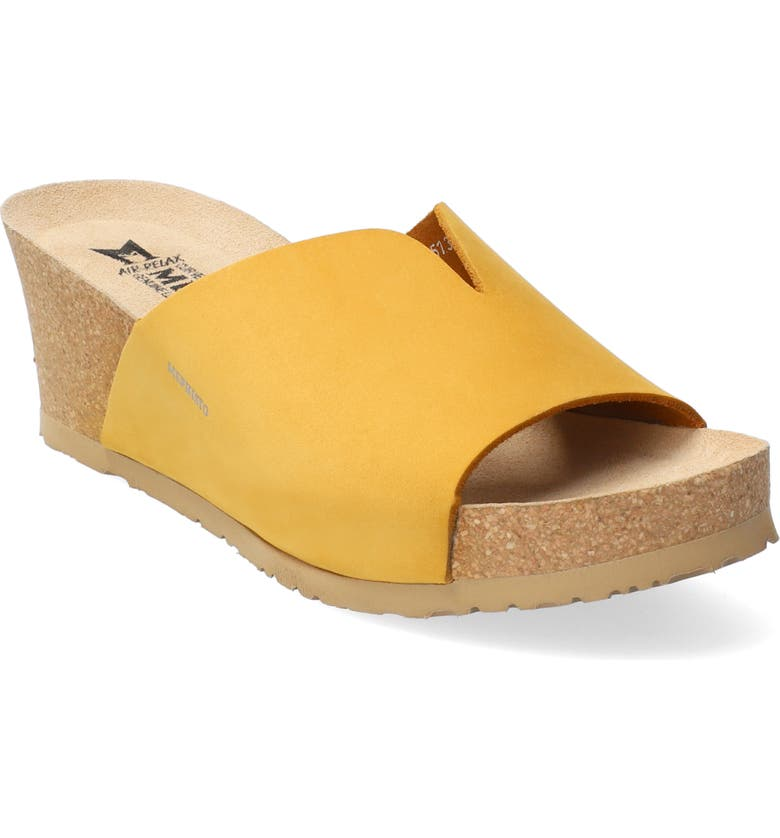 MEPHISTO Lisane Slide Sandal, Main, color, OCHRE NUBUCK LEATHER