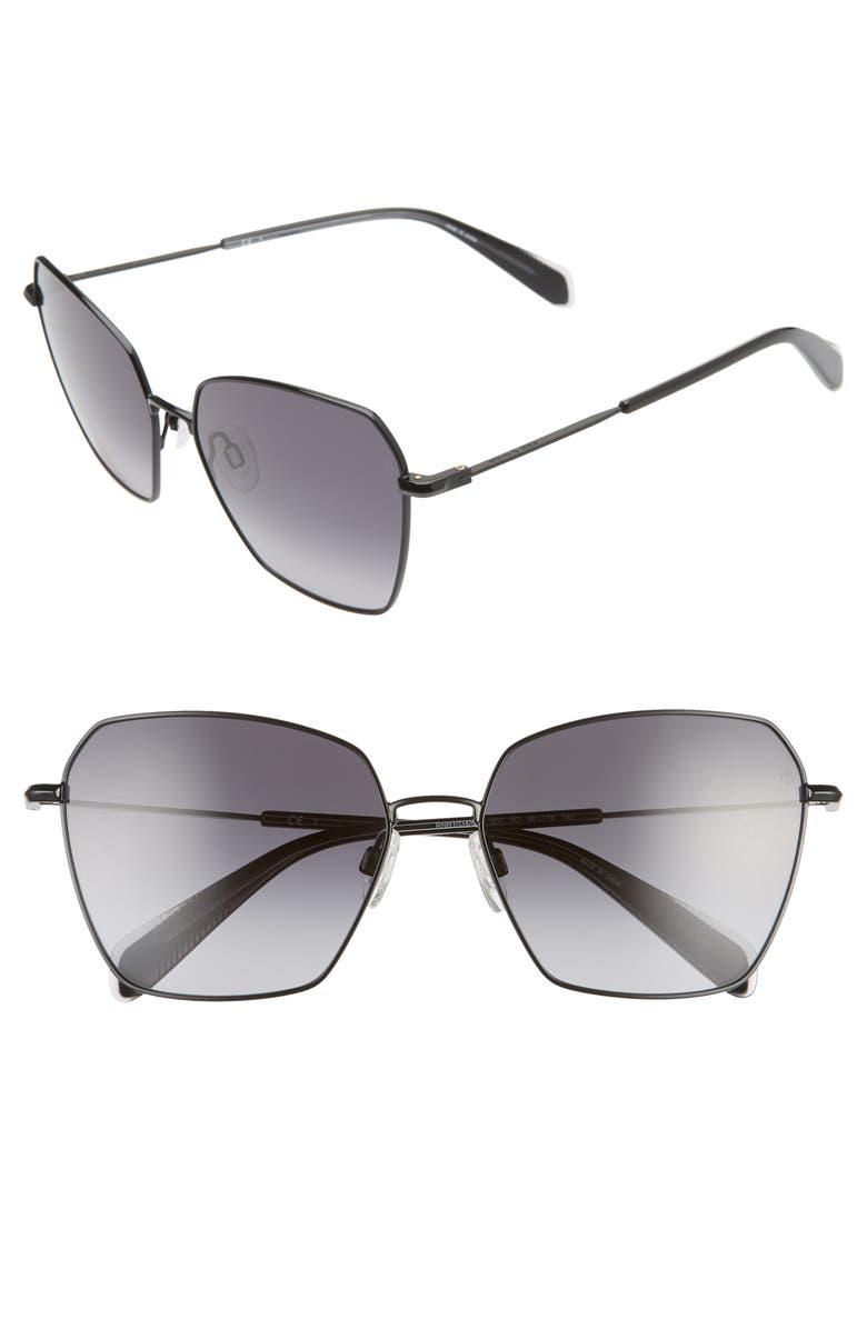 RAG & BONE 58mm Irregular Sunglasses, Main, color, 001