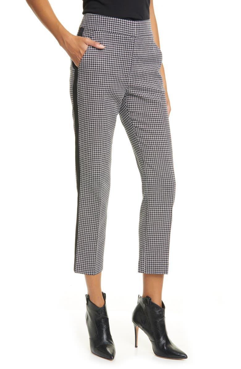 VERONICA BEARD Gemini Gingham Tuxedo Stripe Crop Pants, Main, color, WHITE/ BLACK