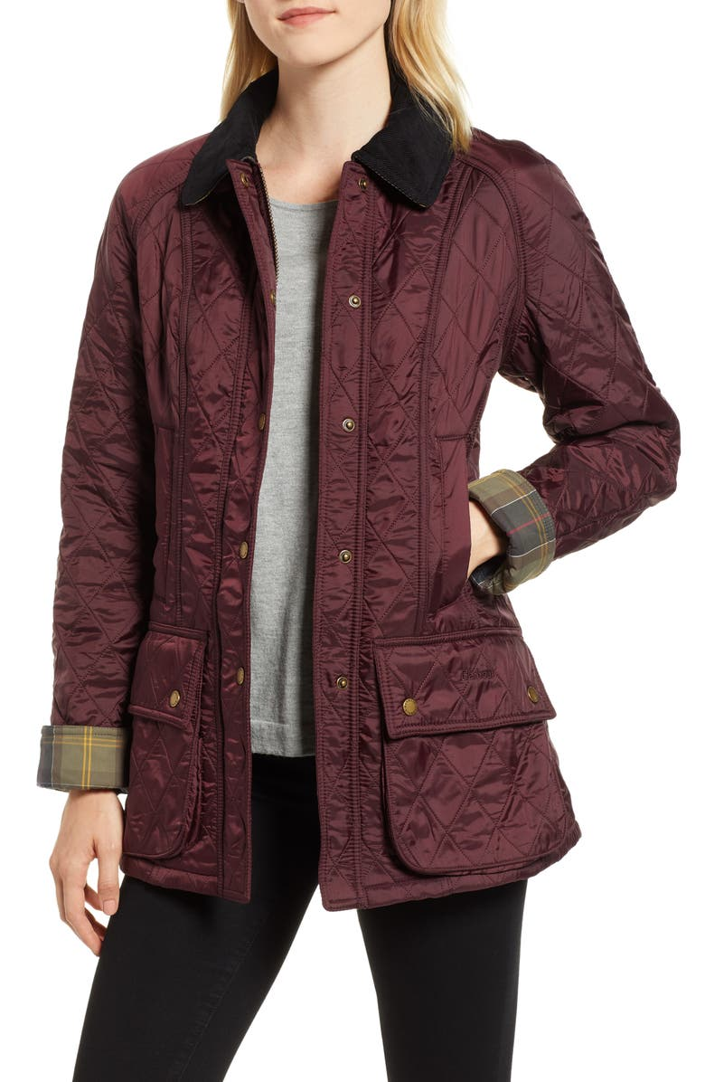 BARBOUR Beadnell Quilted Jacket, Main, color, AUBERGINE / BLACK