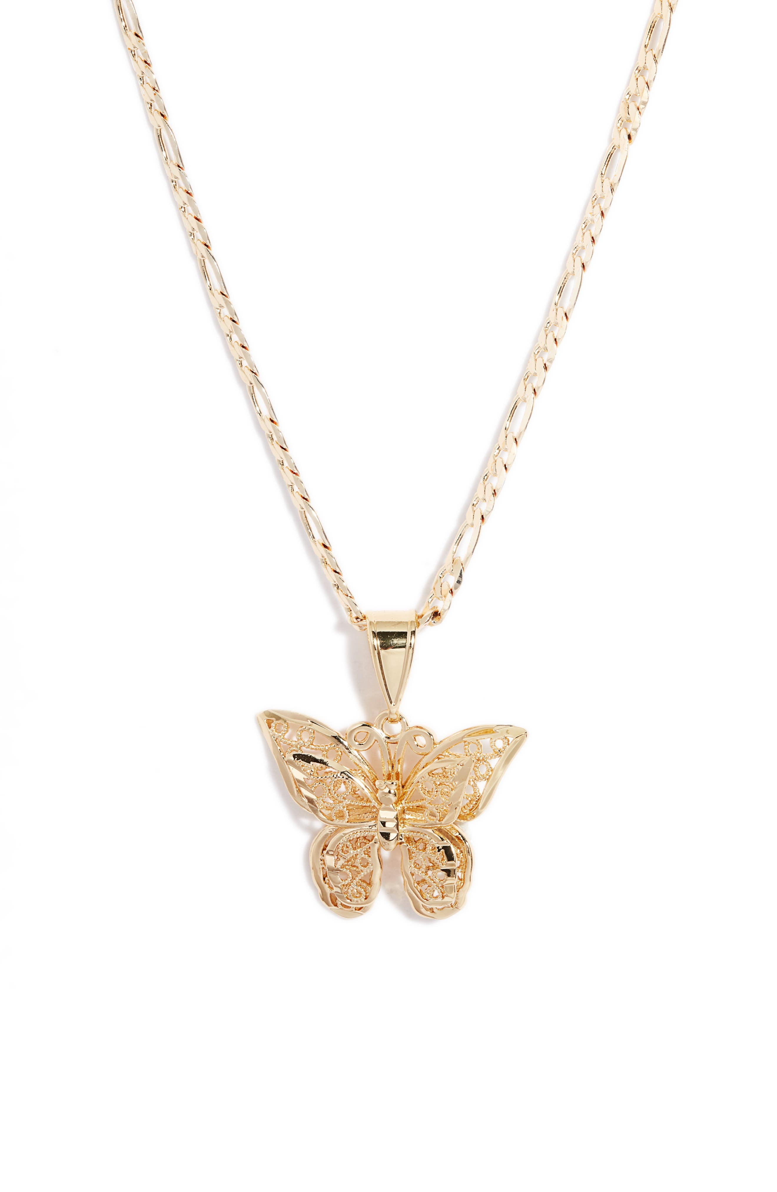 Butterfly Medallion Pendant Necklace