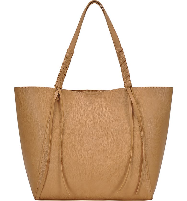 ANTIK KRAFT Knotted Strap Faux Leather Tote, Main, color, CAMEL