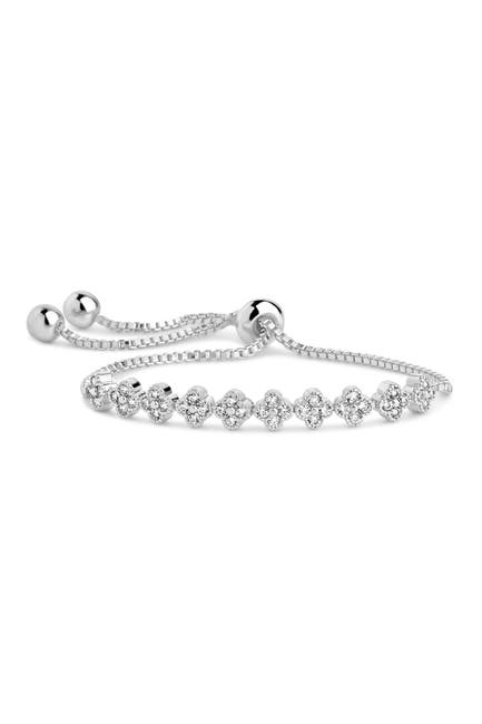 Image of Sterling Forever Rhodium Plated Brass CZ Clover Slider Bracelet