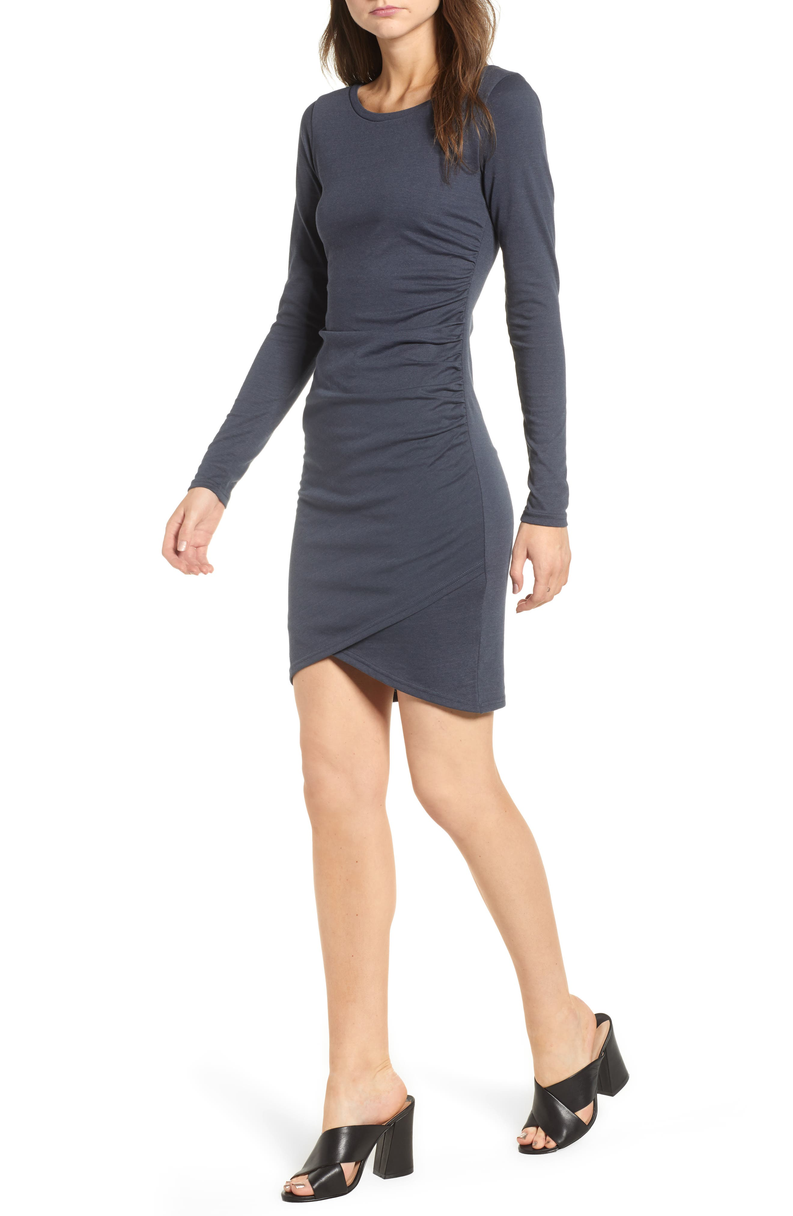 Image of Leith Ruched Long Sleeve Dress