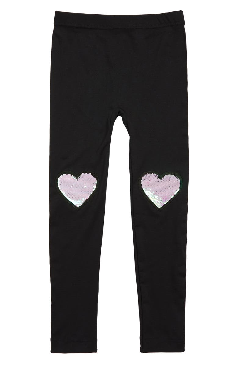 CAPELLI NEW YORK Hearts Reversible Sequin Leggings, Main, color, 001
