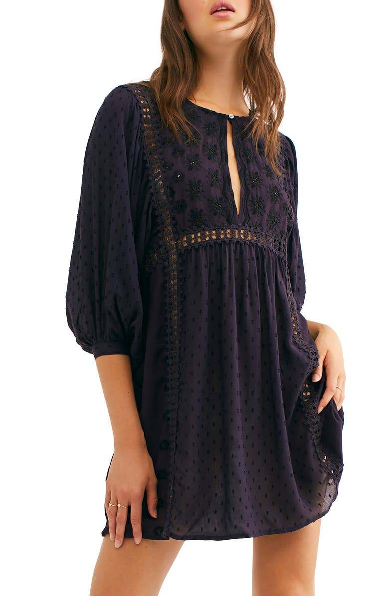 FREE PEOPLE Embroidered Tunic, Main, color, PLUM