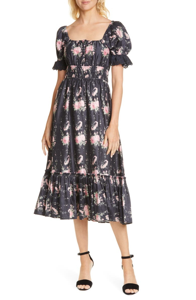 LOVESHACKFANCY Terrence Silk Midi Dress, Main, color, 002