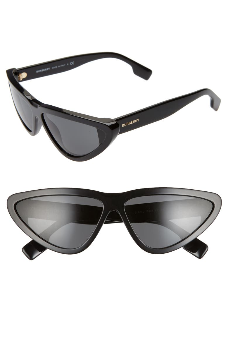 BURBERRY 65mm Oversize Cat Eye Sunglasses, Main, color, BLACK/ BLACK SOLID