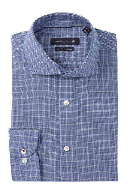 Image of Tommy Hilfiger Slim Fit Checkered Non Iron Dress Shirt