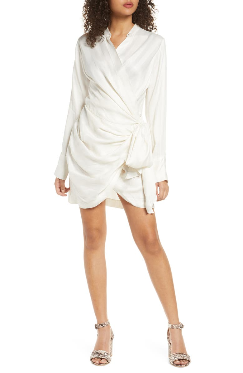 SIGNIFICANT OTHER Voyager Wrap Minidress, Main, color, IVORY