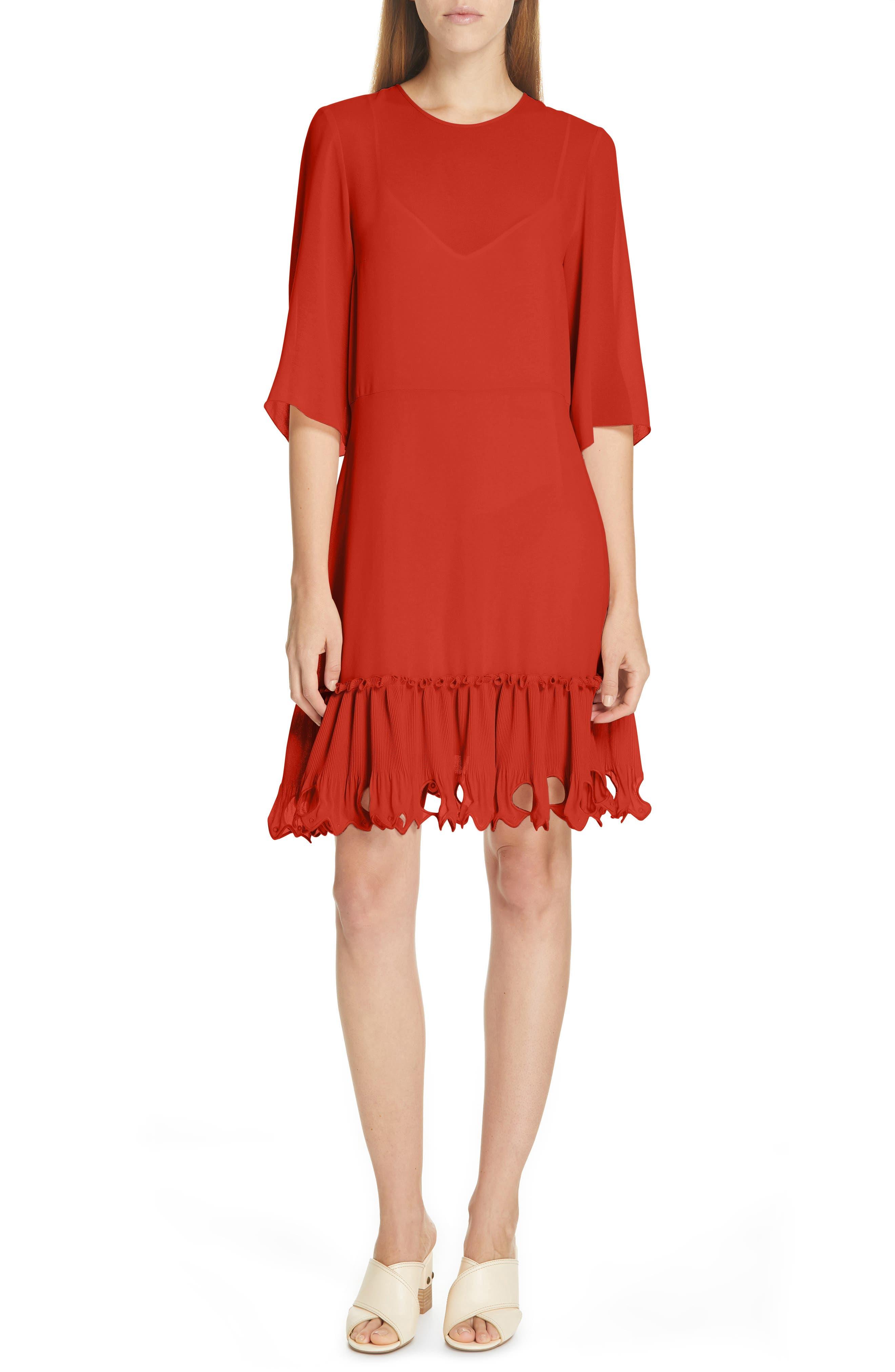 See By Chloe Ruffle Hem Shift Dress, 4 FR - Red