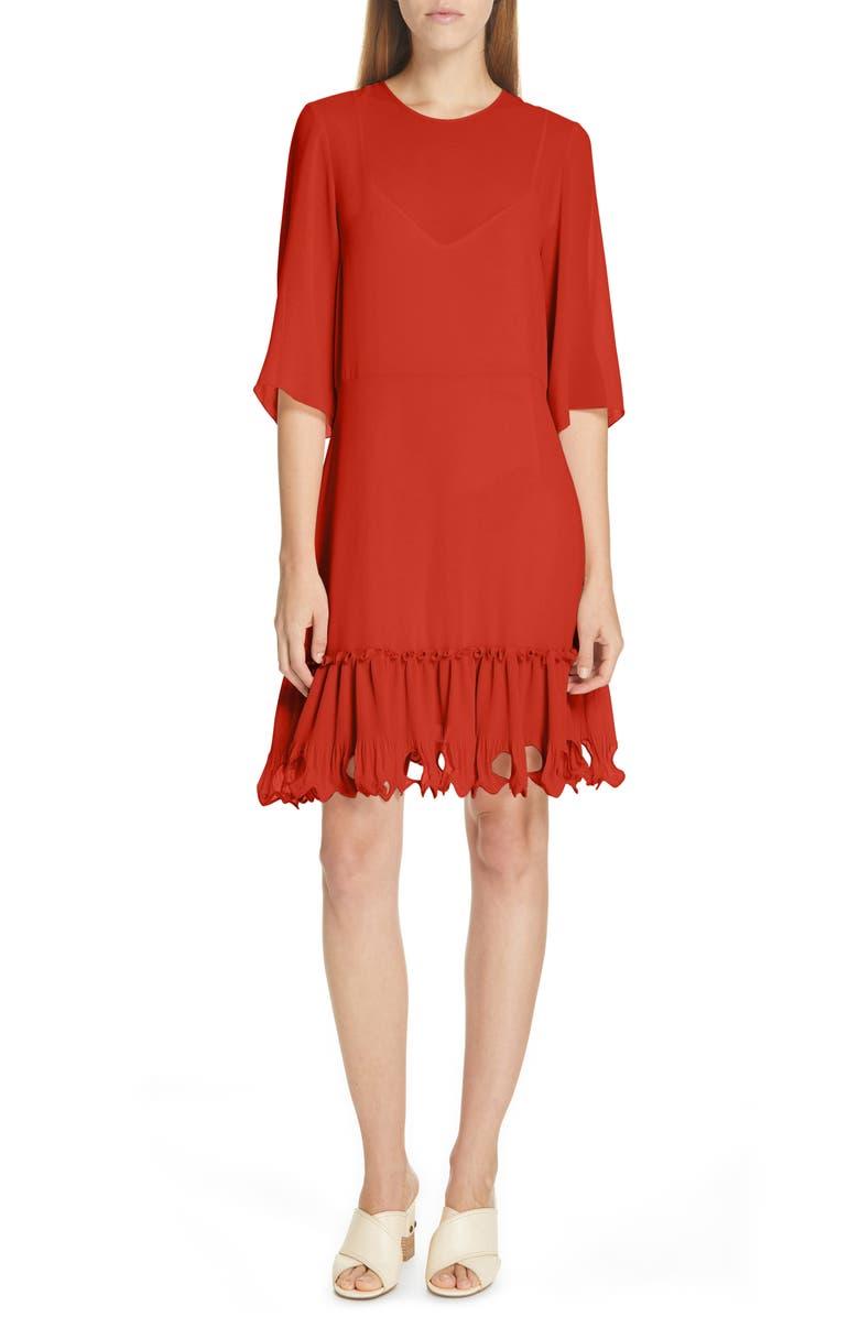SEE BY CHLOÉ Ruffle Hem Shift Dress, Main, color, 601