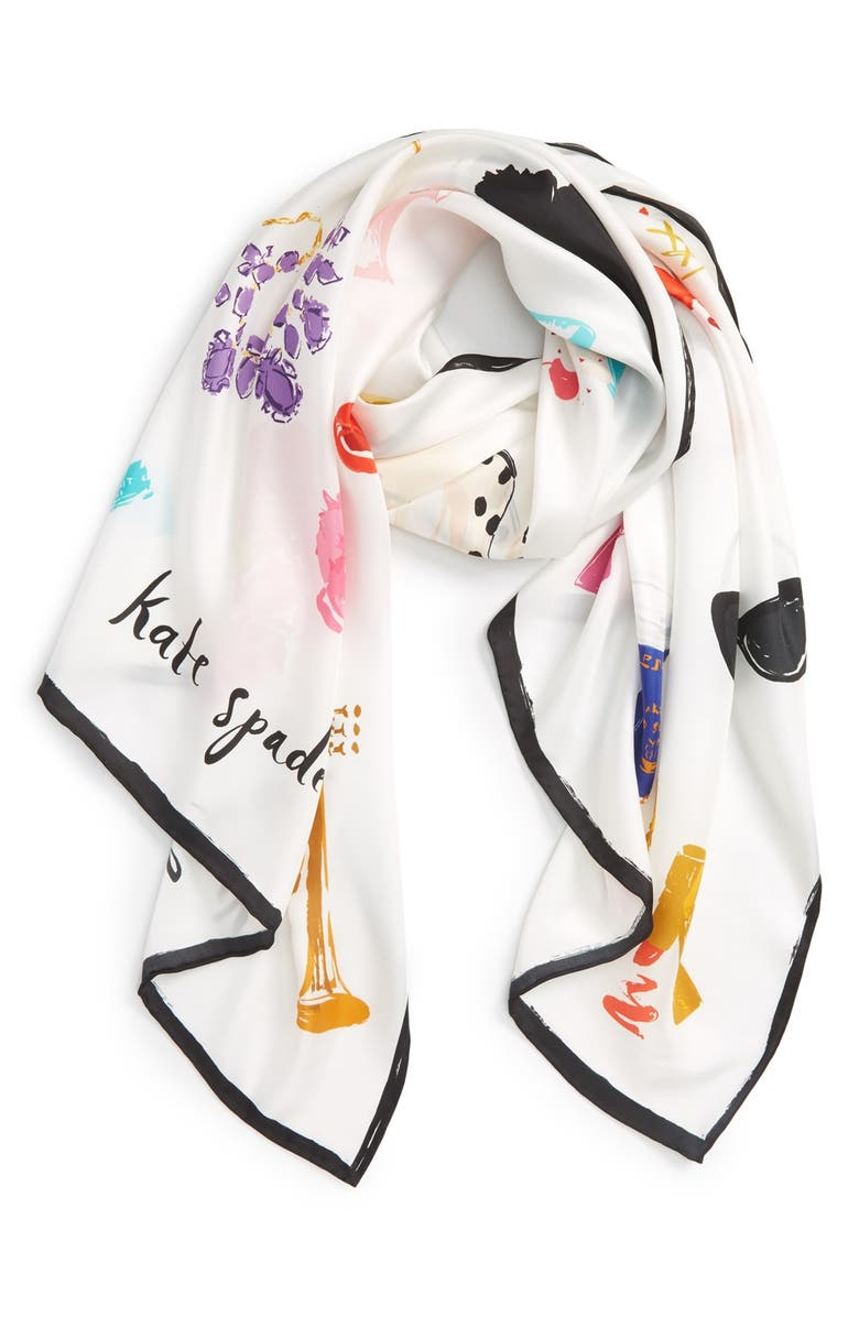 KATE SPADE NEW YORK 'things we love' oblong silk scarf, Main, color, 900