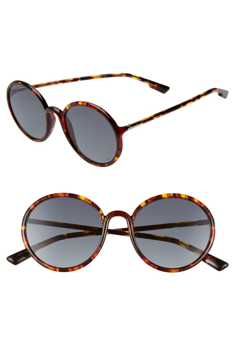 DIOR Stellair2S 52mm Round Sunglasses, Main, color, YELLOW HAVANA