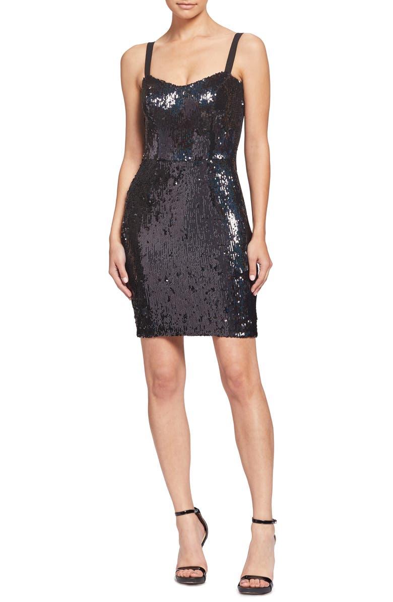 DRESS THE POPULATION Lindsay Demi Sequin Minidress, Main, color, 011