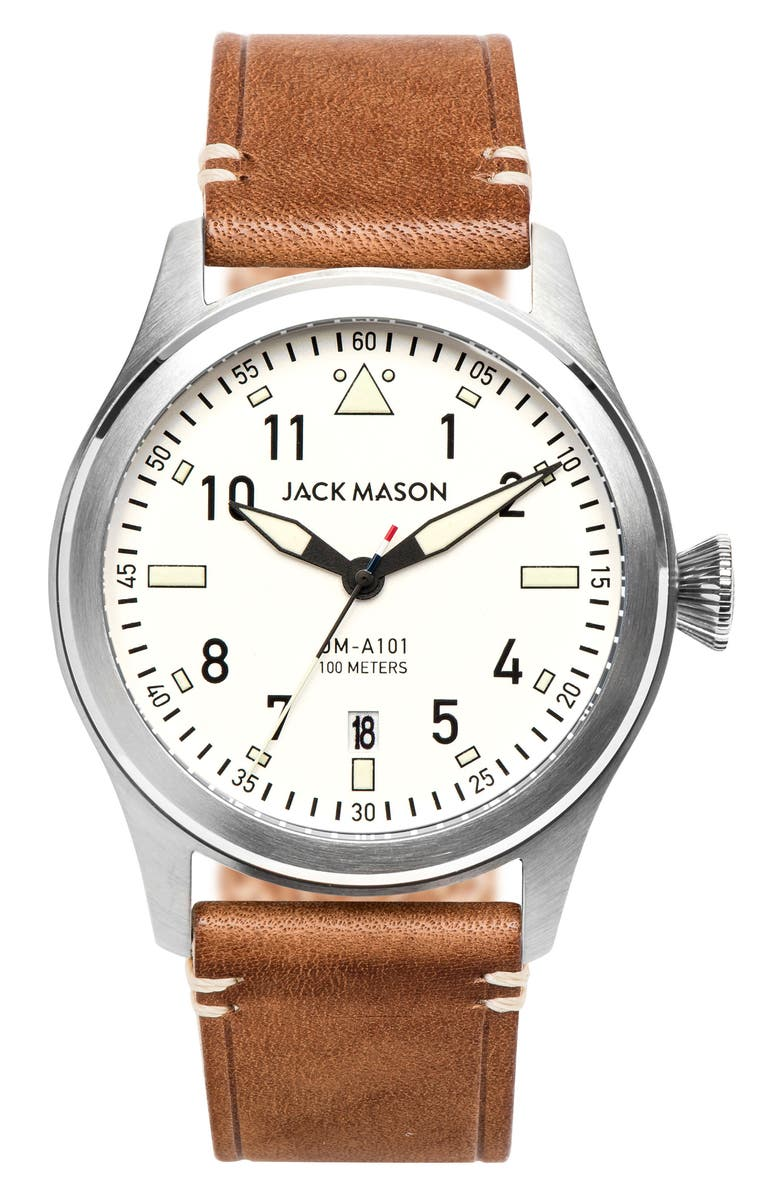 JACK MASON Brand Aviation Leather Strap Watch, 42mm, Main, color, SADDLE/ WHITE
