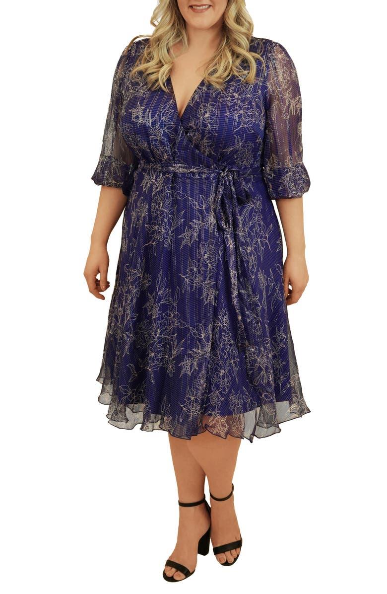 MARÉE POUR TOI Silk & Metallic Wrap Dress, Main, color, COBALT