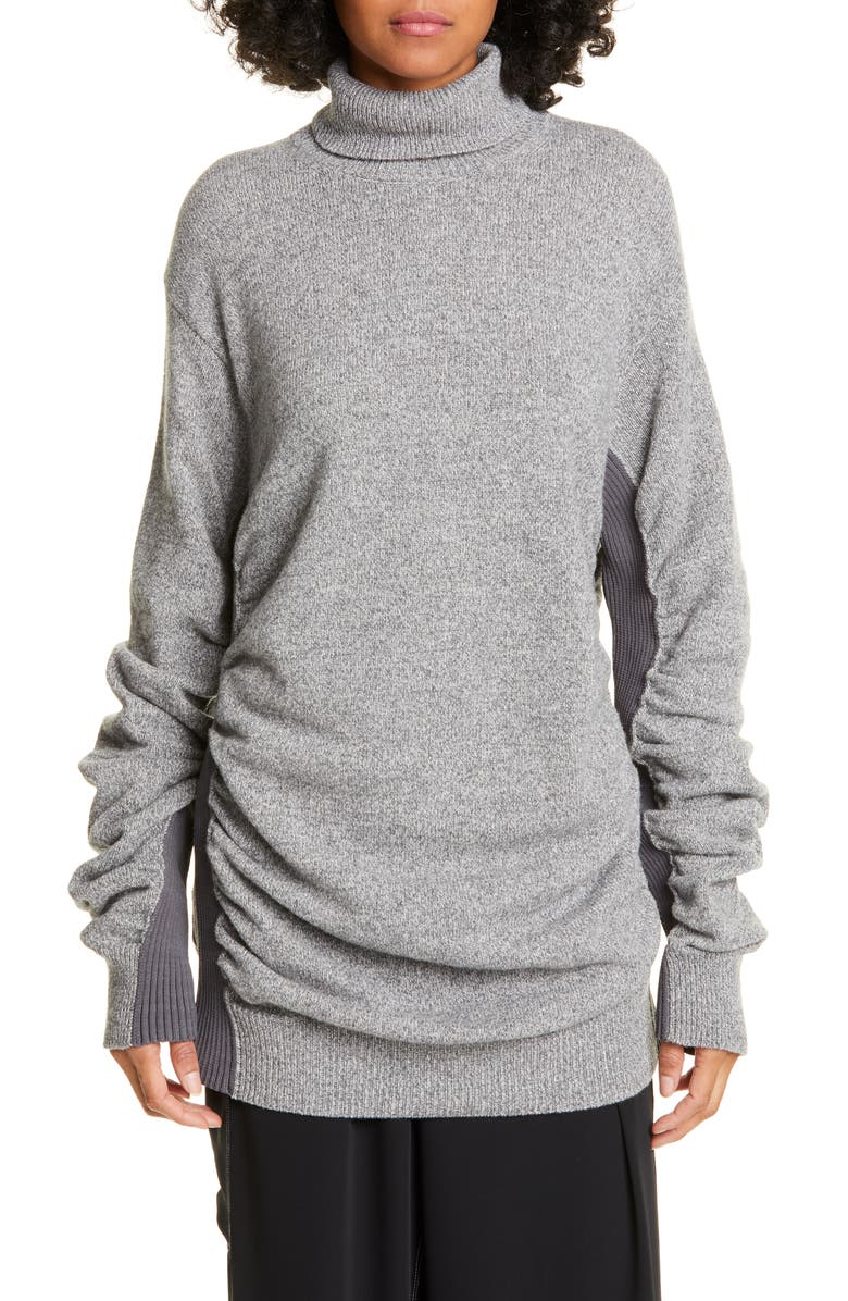MM6 MAISON MARGIELA Ribbed Panel Ruched Wool Blend Sweater, Main, color, GREY