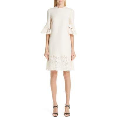 Valentino Lace Trim Wool & Silk Dress, 8 IT - Grey