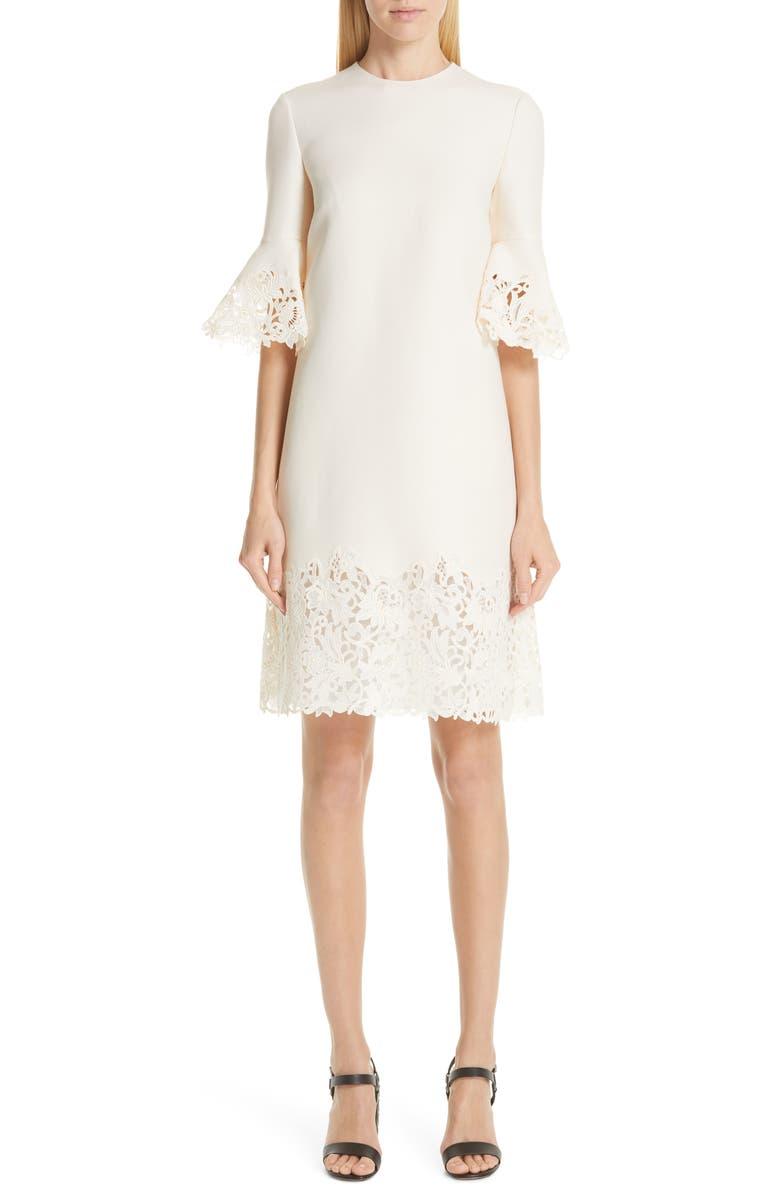 VALENTINO Lace Trim Wool & Silk Dress, Main, color, AVORIO