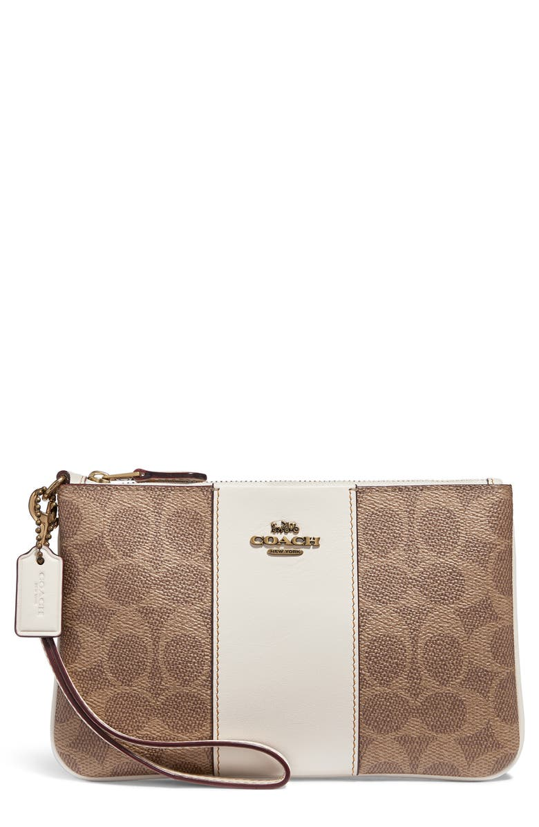 Small Signature Canvas & Leather Wristlet by Coach