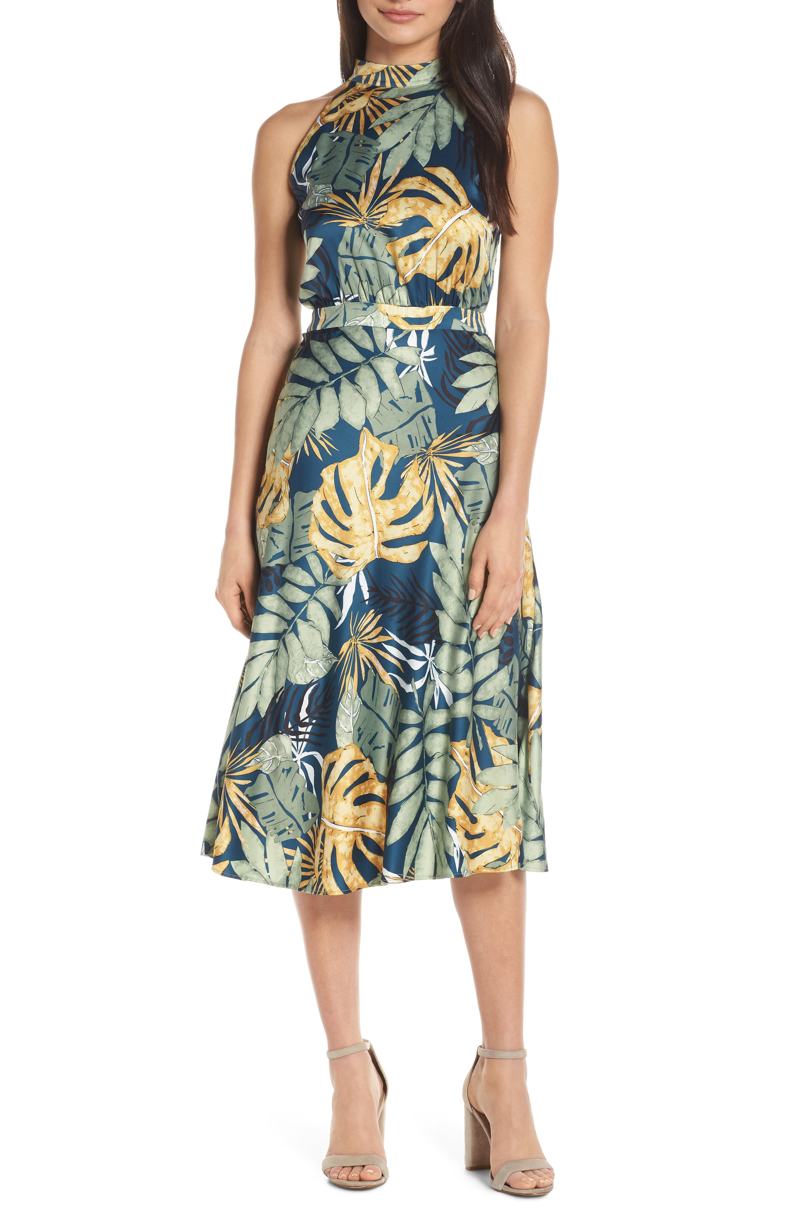 Floral Print Strappy Back Dress, Main, color, NAVY FLORAL