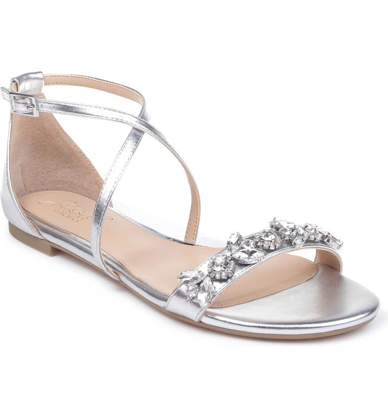 JEWEL BADGLEY MISCHKA Tessy Embellished Sandal, Main, color, SILVER