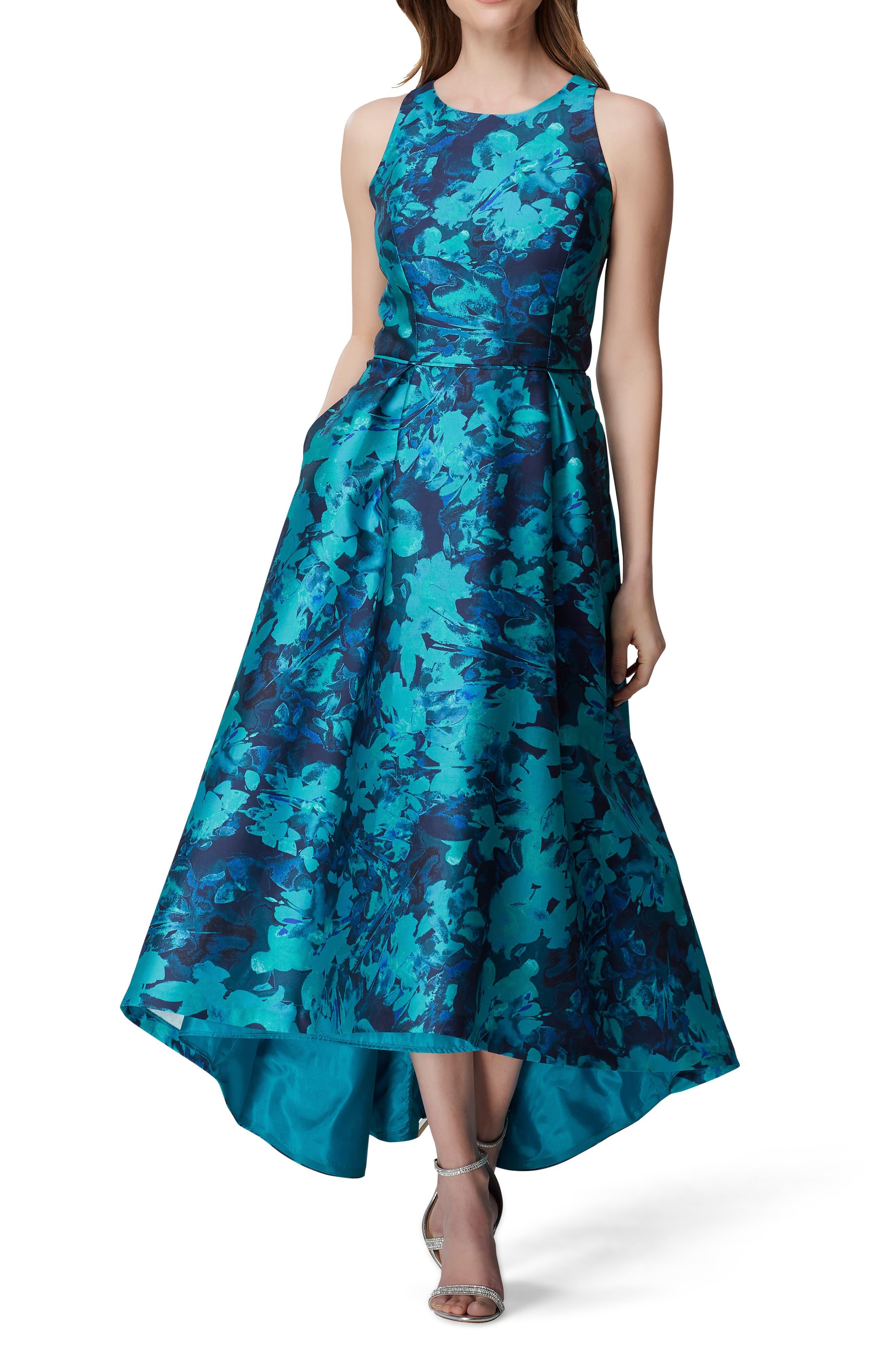 Tahari Sleeveless Printed Mikado Gown, Blue/green