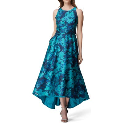 Tahari Sleeveless Printed Mikado Gown, Blue/green