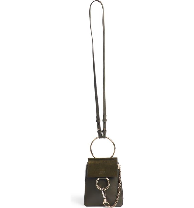 CHLOÉ Faye Small Suede & Leather Bracelet Bag, Main, color, 301