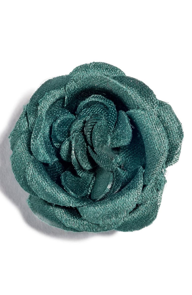 HOOK + ALBERT Satin Lapel Flower, Main, color, GREEN