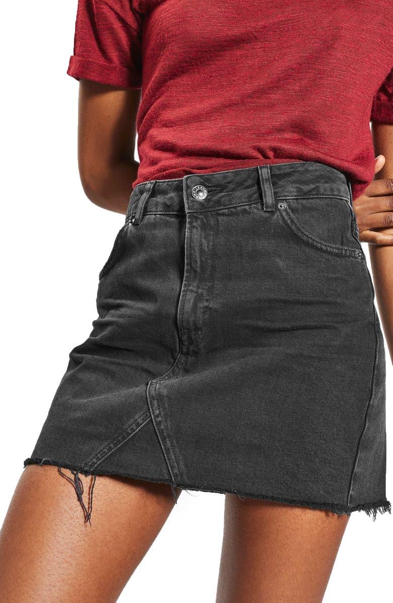TOPSHOP Raw Hem Denim Miniskirt, Main, color, 001