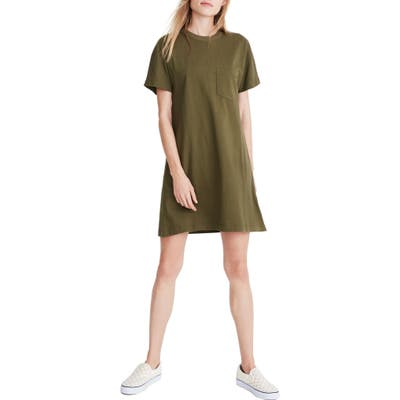 Madewell Tomboy Pocket T-Shirt Dress, Green