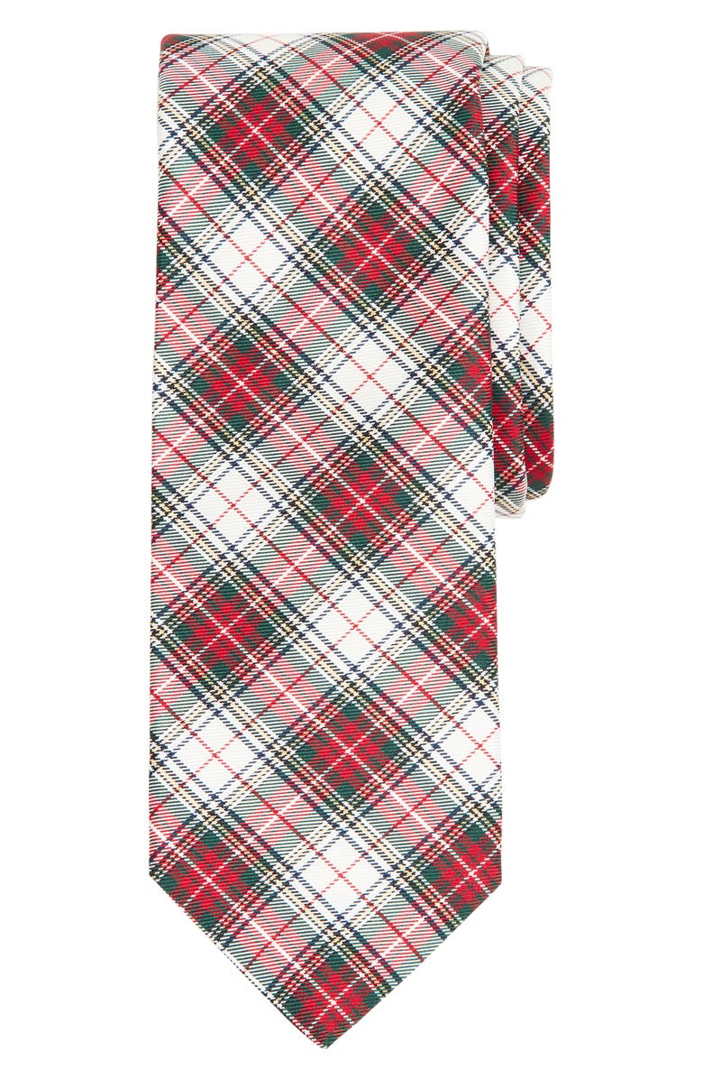 BROOKS BROTHERS Tartan Silk Tie, Main, color, RED