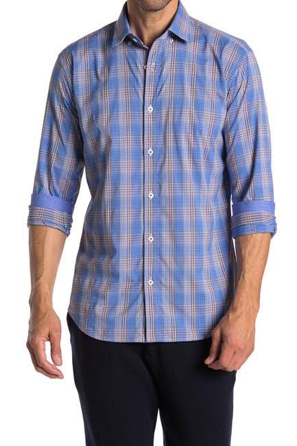 Image of Bugatchi Plaid Shaped Fit Performance Shirt