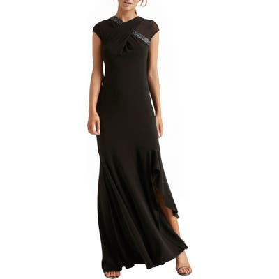 Halston Heritage Crossover Embellished Asymmetrical Gown, Black