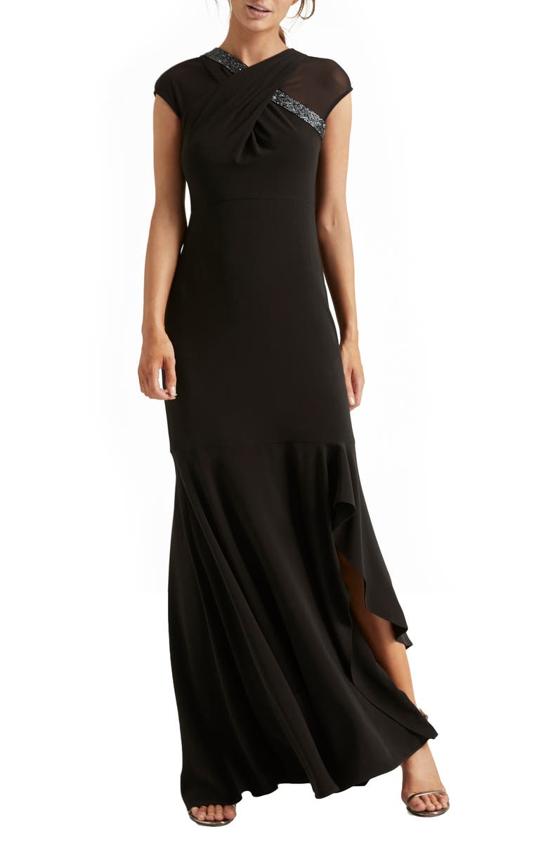 HALSTON HERITAGE Crossover Embellished Asymmetrical Gown, Main, color, 001